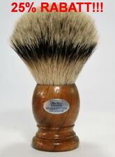XXXL Brocha de Afeitar Hans Baier madera nogal cerdas cerdo PUNTAS PLATA 28mm