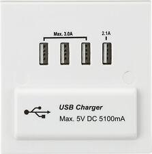 Knightsbridge 1G 1 Gang Quad 4x USB Charger Slot Port Socket 5V DC 5.1A White