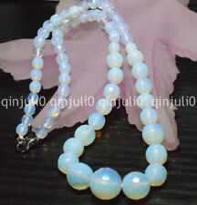"""6-14mm White Faceted Sri Lanka Moonstone Round Beads Necklaces 18"""" JN496"""