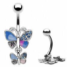Piercing de Ombligo ombligo anillo azul Lila Cristal Doble colgante de mariposa