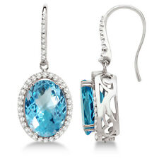 SOLID 14K WHITE GOLD NATURAL SPARKLY SWISS BlUE TOPAZ DIAMOND JEWELRY EARRINGS