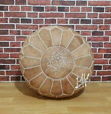 Genuine Leather Moroccan Pouffe Pouf Handmade Ottoman Footstool, Tan Pouf