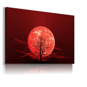 RED WORLD TREE COSMOS ABSTRACT CANVAS WALL ART PICTURE WS275  MATAGA