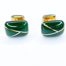 Tiffany & Co Jade 18K Yellow Gold Cufflinks Original Case STUNNING