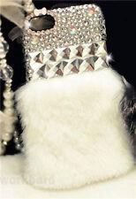 Luxury Bling Rabbit Fur Diamond Crystal Rhinestone Case Cover For Cell Phones