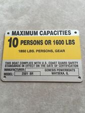 United Marine Corp Boat Capacity Plate~Tag~10 Person or 1600 Lbs~Genesis 2501 BR