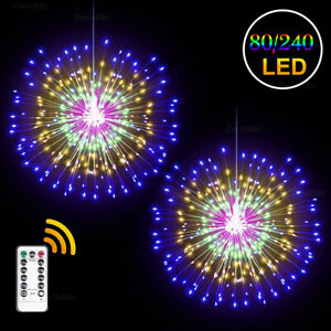 LED Hanging Starburst Firework Fairy String Light USB/Battery Remote Party  A