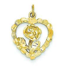 14k Yellow Gold Rose Heart Charm Flower Love Pendant