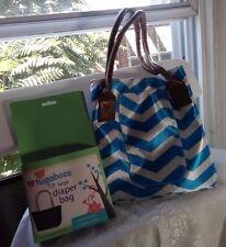Tugaboos Large Aqua & White Designed  Diaper Bag. Brand new in box!
