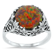ORANGE LAB FIRE OPAL ANTIQUE STYLE 925 STERLING SILVER RING SIZE 5.75, #173