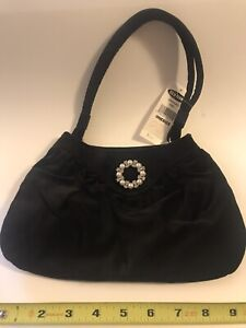 Little Girl's Black Velvet Purse With Pearls & rhinestones Circle, Old Navy, nwt