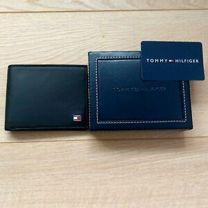 TOMMY HILFIGER Mens Leather Wallet RFID BLOCKER Slim Bill-Fold Black