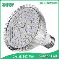 80W E27 LED Plant Grow Light Bulbs Full Spectrum Lamp Indoor Hydroponic Flower