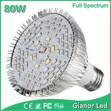 80W E27 LED Plant Grow Light Bulbs Full Spectrum Lamp Indoor Hydroponic Flower