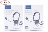 (2 Pack) - INSIGNIA - NS-MCHM25PB Landline Phone Headset with 2.5mm Connector