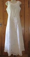 Vtg Battenburg Lace White Cotton Wedding Dress Bridal Maxi with Crop Jacket M