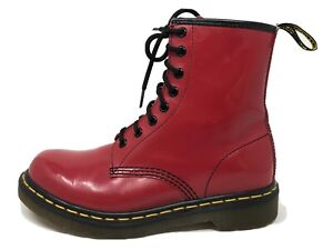Dr. Martens Doc's 1460W Red Patent Leather Sz 7 AirWair with Bouncing Soles