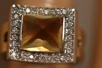 HEAVY 9.44G 14K YELLOW GOLD 6.32CT CITRINE DIAMOND ART DECO BALLERINA HALO RING