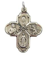 "Sterling Silver Four Way Medal 1 1/8"" Cross Pendant with Flower Floral Center"