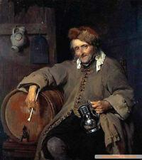 Handpainted Oil painting Gabriel Metsu drinking elderly old man seated no framed