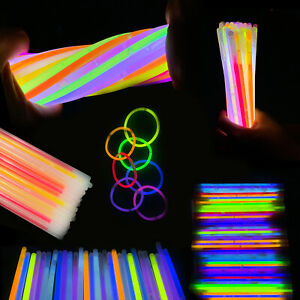 """50/100/200 8"""" Glow Sticks Bracelets Neon Color Party Favors Pack with Connector"""