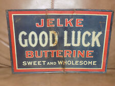 Vintage Jelke Good Luck Butterine Sweet and Wholesome Metal Store Sign