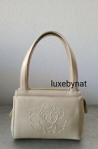 Chanel vintage mini tote Camelia beige calf skin gold hardware