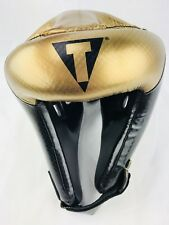 Title Boxing Headgear ADULT LARGE Black Gold Open Face Sparring Training Gel