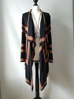 Chesca Black Brown Longline Waterfall Open Cardigan Size 1 UK 8 10 *flaw*
