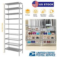 Big Capacity Simple Style 10 Tiers Shoe Storage Shelf Rack Stand Shoes Saving US
