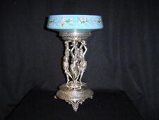 Meridan Silverplated Victorian epergne handpainted blue Bristol glass bowl