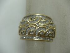 14K Yellow Gold Diamond Ring Cocktail Cluster .27 TCW Size 7.25