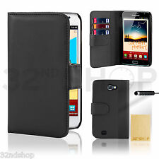 BLACK WALLET LEATHER FLIP CASE COVER SAMSUNG N7000 (I9220) GALAXY NOTE