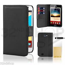 schwarze Geldbörse Lederhülle zum Aufklappen Samsung N7000 (i9220) Galaxy Note