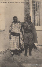 * LYBIA - Bengasi - Libyan Soldier in love 1915 Italian Colony Artiglieria