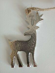 Nordic style silver metal christmas hanging reindeer 10cm