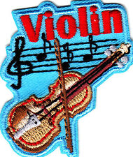 """VIOLIN"" -  Iron On Embroidered Patch - Rock N'Roll -  Jazz -  Band - Music"
