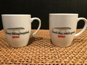 """2 Rapala Fishing Lure Coffee Mugs """"Good Day Made Great"""" """"Heavy Lifting Required"""""""