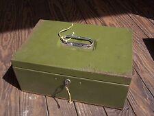 Vintage / Antique Metal Bank Cash Document Lock Box Safe Money Case w/ Key