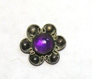 Beautiful Antique Vintage Amethyst Set in Silver Button Marked Taxco
