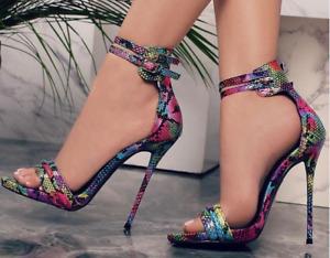 Women's Ankle Strap Sandals Snakeskin Print Open Toe High Heels Buckle Shoes New