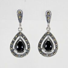 925 Sterling Silver Vintage Style Marcasite Onyx Teardrop Dangle Drop Earrings