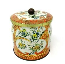VTG Collectible DECORATIVE TIN Orange w/ Floral Design by DAHER Made in England