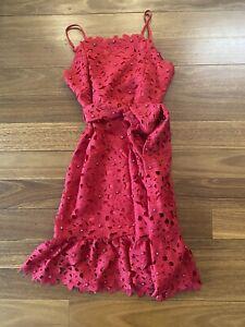 Girls Bardot junior Red Lace Dress