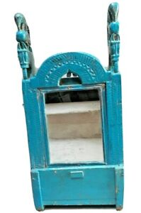 OLD INDIAN WOODEN HAND CRAFTED HAND PAINTED MIRROR FRAME PEACOCK OR HORSE CARVED