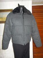 Veste BLOUSON chaud matelassé laine gris col simili fourrure REDSKINS  L 44