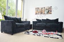 Jumbo Cord Black Fabric Sofas 3 Seater 2 Seater Sofa Dylan Settee