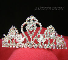 Bridal Tiara Head Band Swarovski Crystal Special Silver Plated Wedding Crown C04