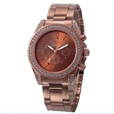 WOMENS WATCH ROSE GOLD coffee DIAMONTE RHINESTONE FIRST CLASS PRESENT BIRTHDAY