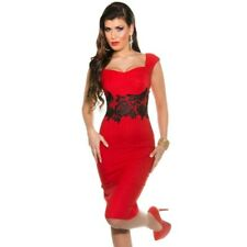Abito aderente donna vestito ginocchio tubino giromanica fascia pizzo elegante